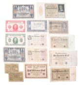 A small collection of banknotes, including German 1920s inflation currency, and others. [15]