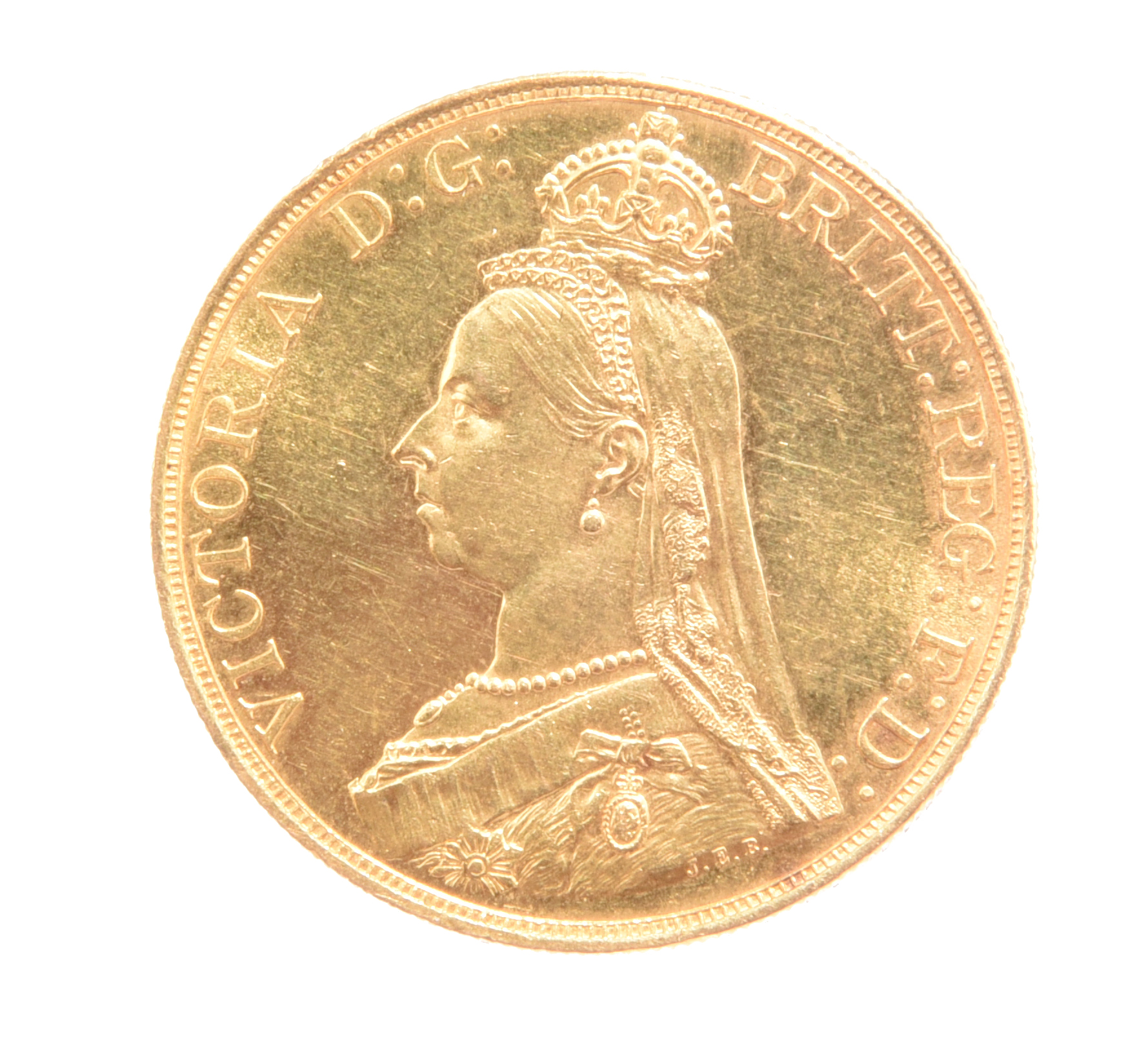 Victoria, gold five pounds, 1887 (S 3864), hairlining and minor marks to fields, otherwise about