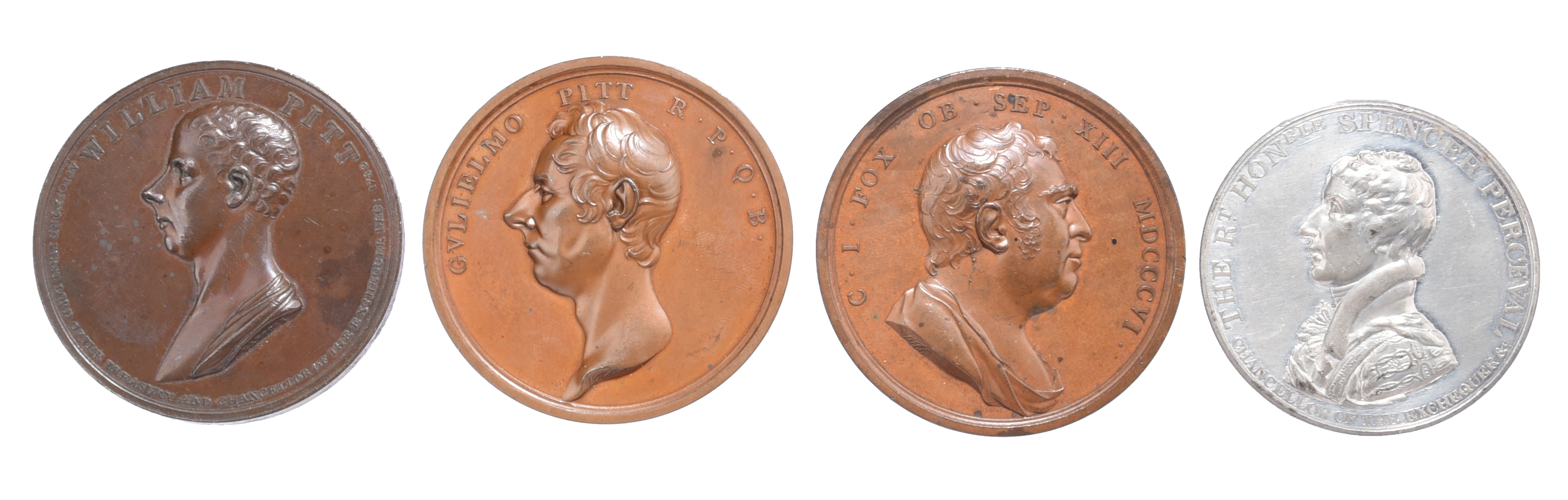 British politicians, four medals: William Pitt First Lord of the Treasury 1799, AE, 53mm, bust left,