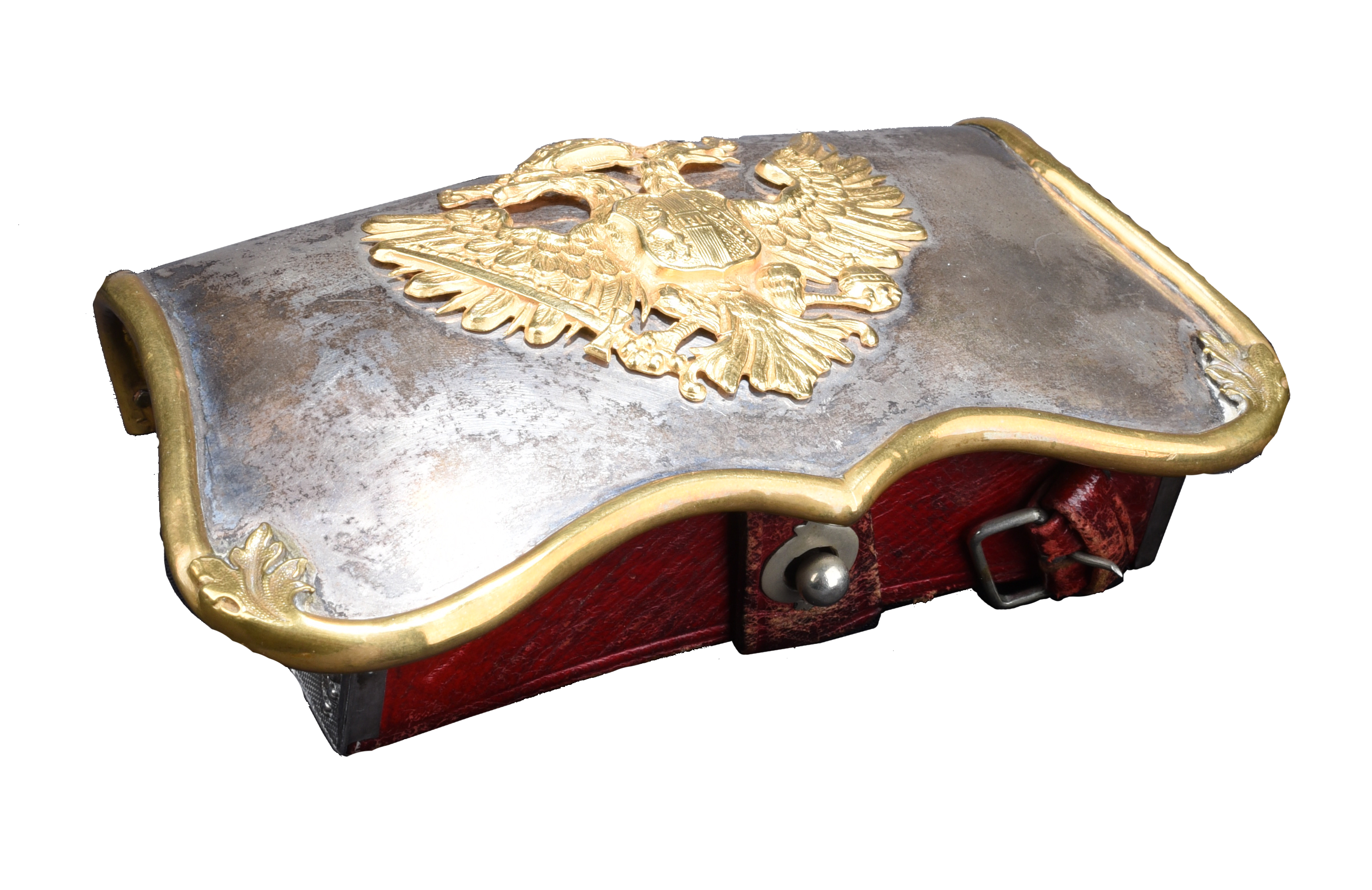 An Austrian officer's dress shoulder belt pouch, curved silver cover with scalloped lower edge and