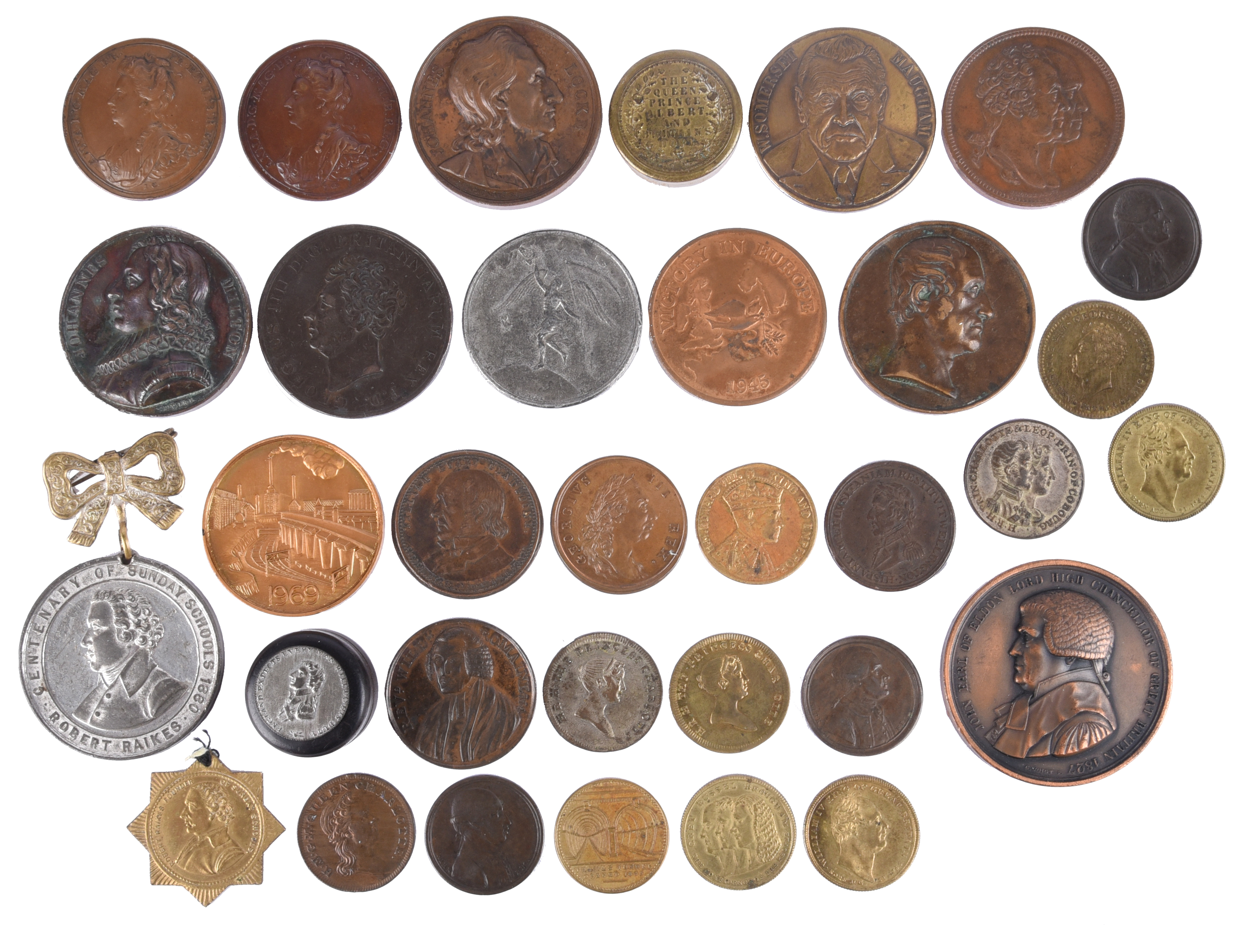 A small quantity of historican medals and associated items, including: Anne: Battle of Blenheim 1704