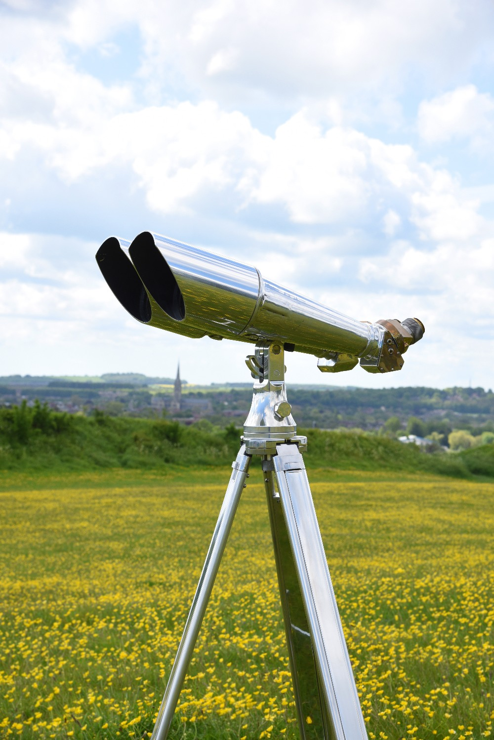A pair of massive 20x120mm Imperial Japanese Naval observation binoculars, aluminium, brass and