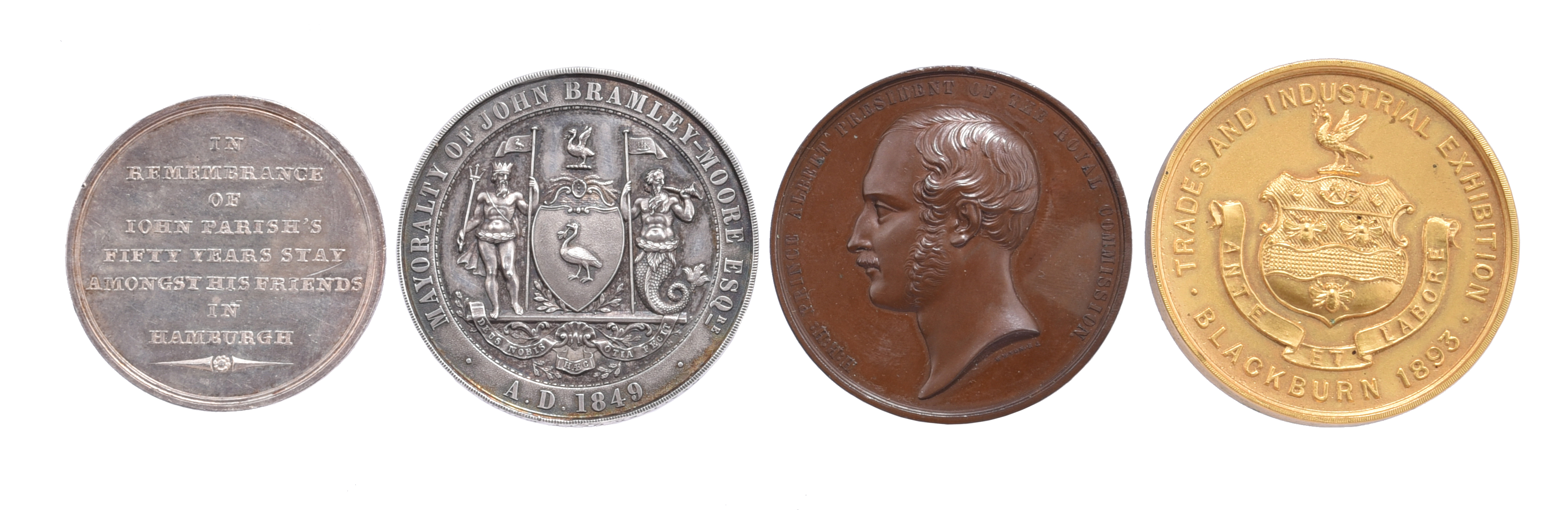 Commerce and Industry: four medals: John Parish, Hamburg 1806, silver, 39mm, 'FROM 1756 TILL 1806 TO