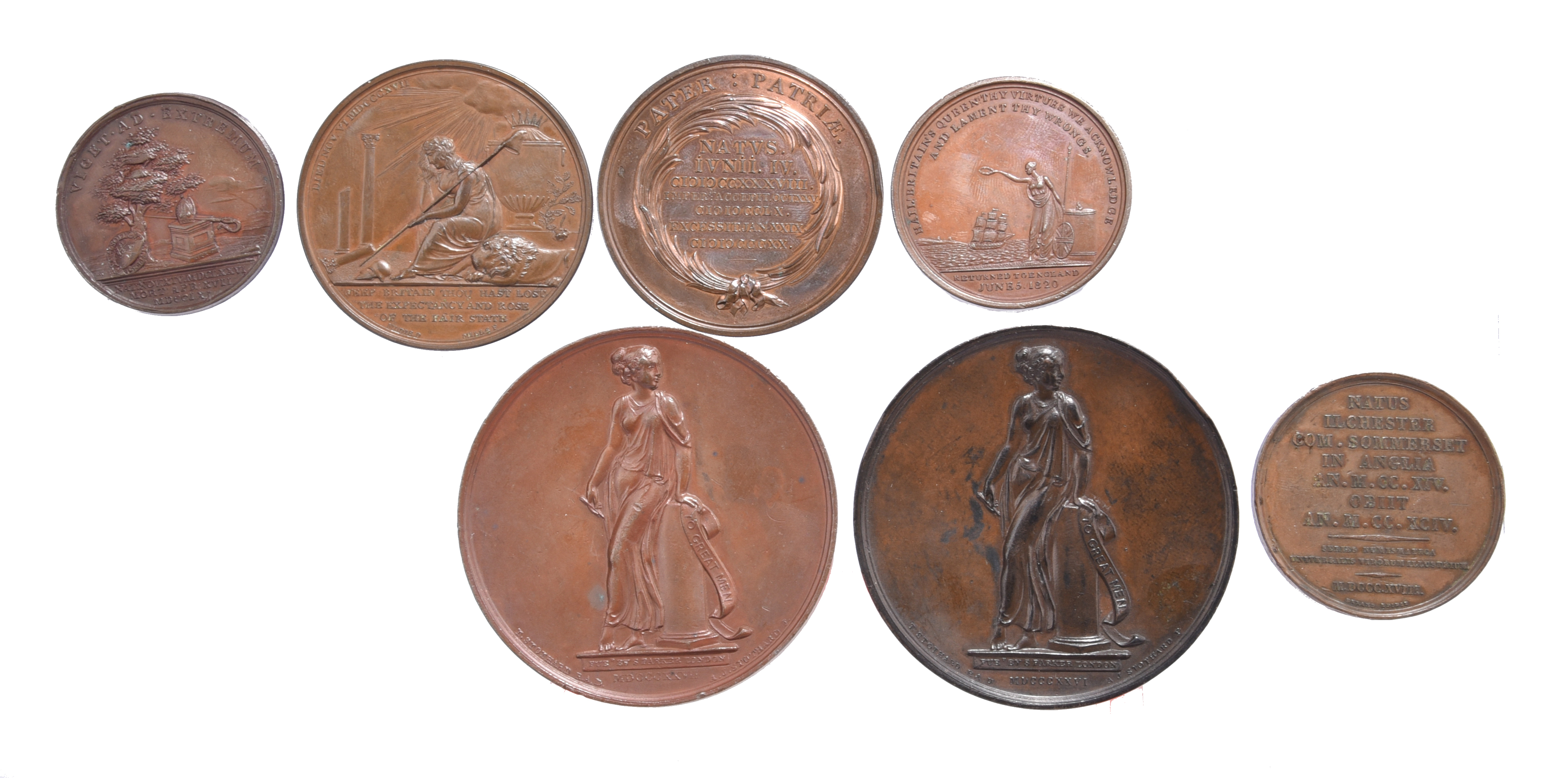 Seven various historical medals: Death of Benjamin Hoadley 1761, AE, 37mm, bust right, rev. mitre - Image 2 of 2