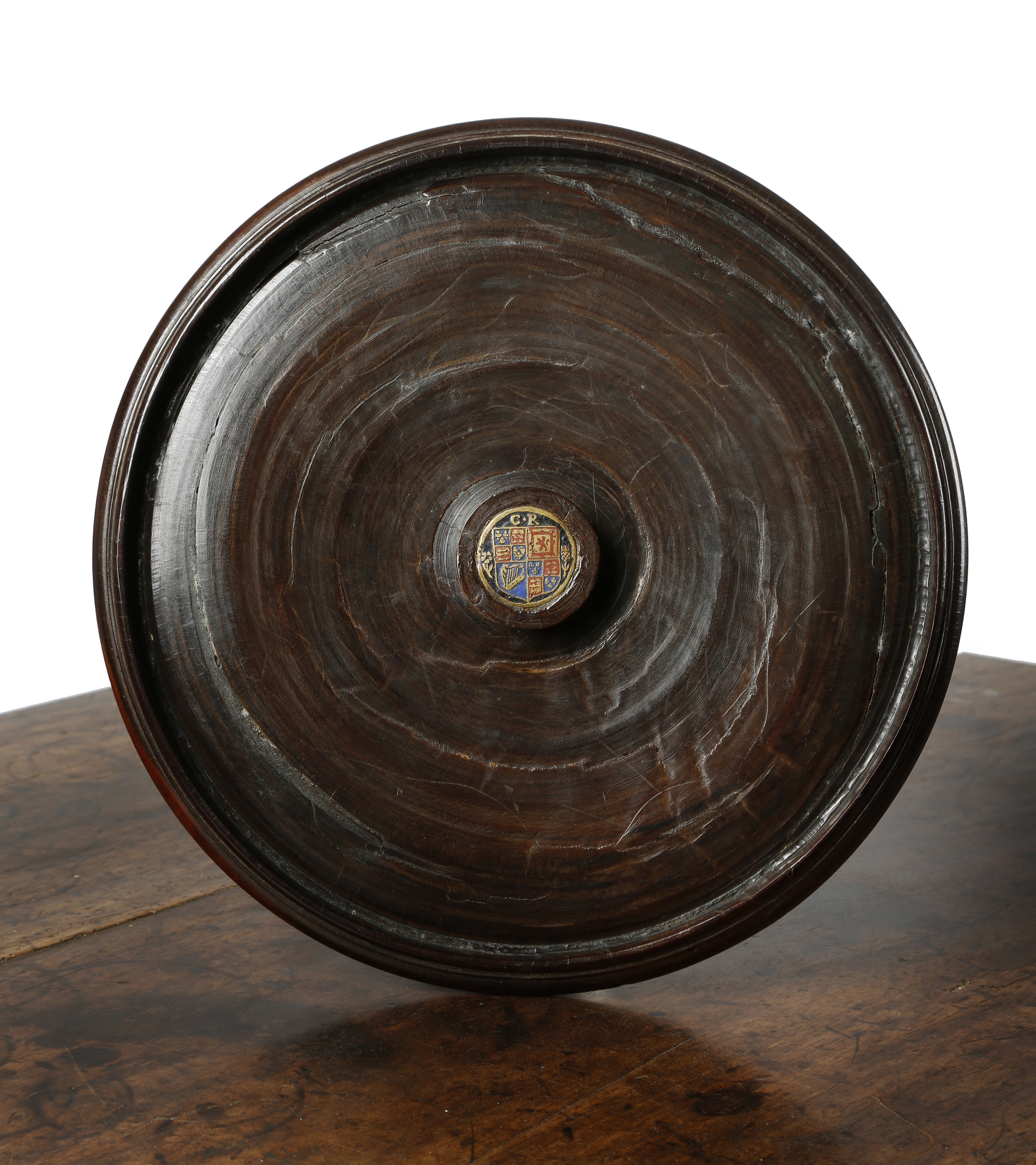 A FINE CHARLES II LIGNUM VITAE WASSAIL BOWL AND COVER C.1660-70 the lid with a turned cup and - Image 2 of 2