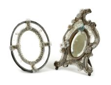 TWO ITALIAN GLASS MIRRORS VENETIAN, LATE 19TH CENTURY each with etched decoration, one of Rococo