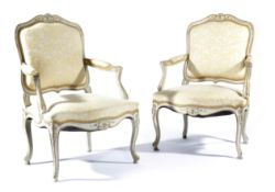 A PAIR OF FRENCH PAINTED FAUTEUIL IN LOUIS XV STYLE LATE 19TH / EARLY 20TH CENTURY each with a