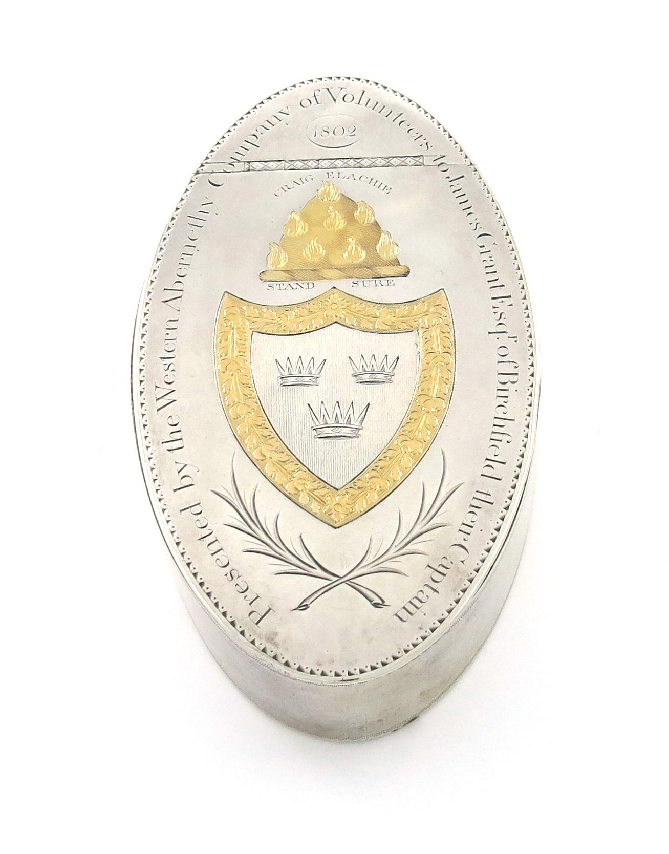 A George III Scottish parcel-gilt silver table snuff box, by Alexander Gardner and Co, Edinburgh