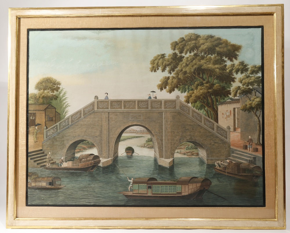ANONYMOUS (19TH CENTURY) RIVER SCENES OF CAIHONG BRIDGE AND WUYAN BRIDGE Two Chinese paintings, - Image 4 of 4