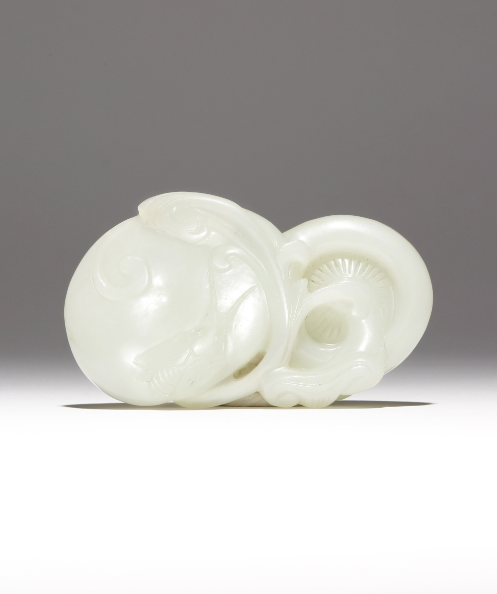 A CHINESE PALE CELADON JADE CARVING OF LINGZHI QING DYNASTY Formed as two large mushrooms with - Image 2 of 2