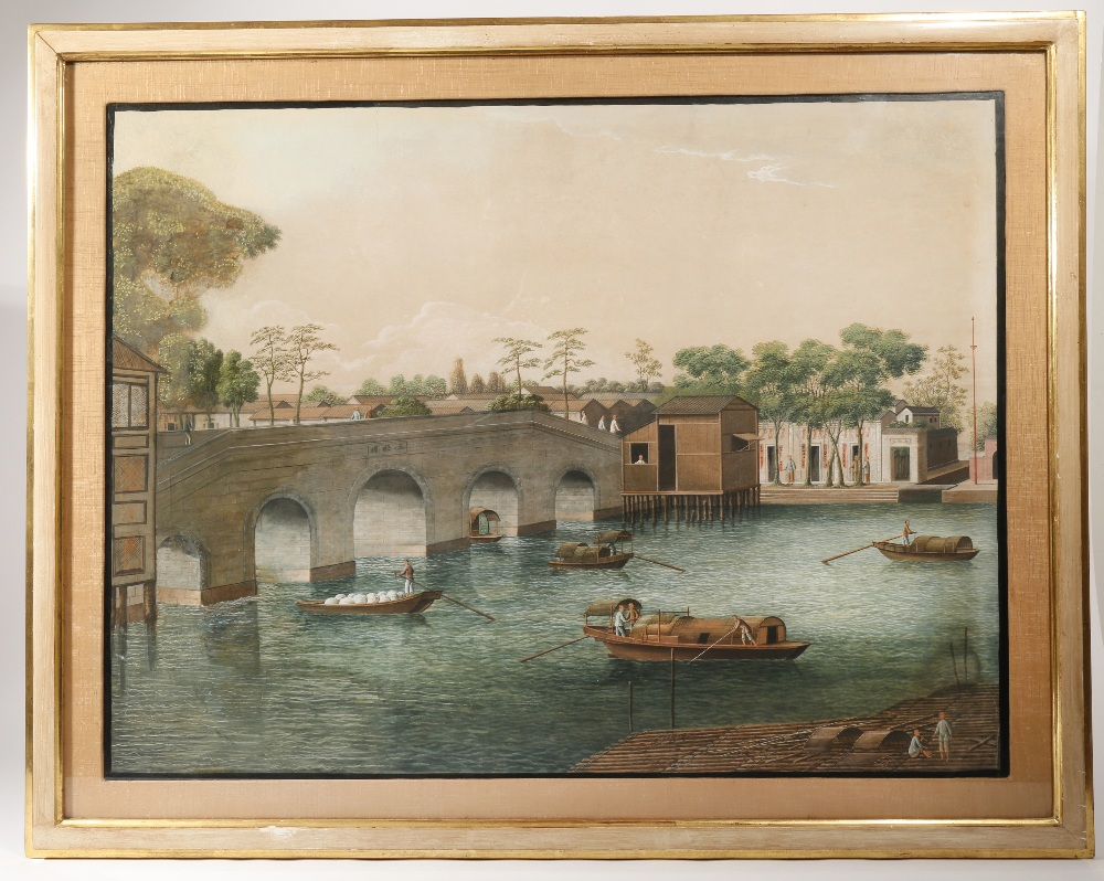ANONYMOUS (19TH CENTURY) RIVER SCENES OF CAIHONG BRIDGE AND WUYAN BRIDGE Two Chinese paintings, - Image 3 of 4