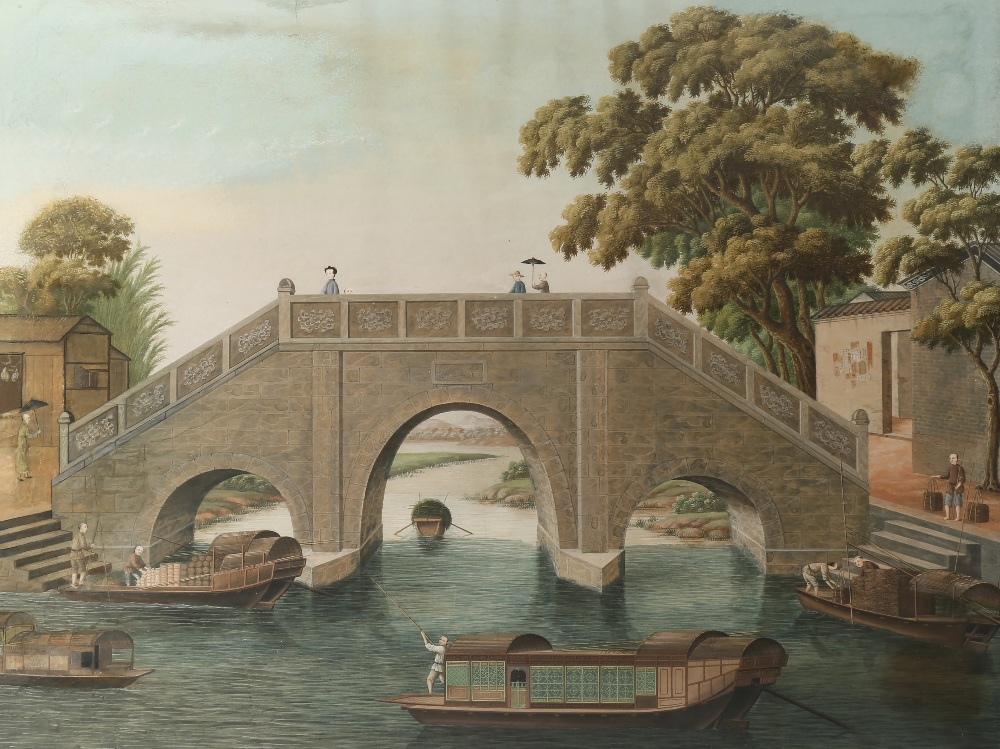 ANONYMOUS (19TH CENTURY) RIVER SCENES OF CAIHONG BRIDGE AND WUYAN BRIDGE Two Chinese paintings, - Image 2 of 4