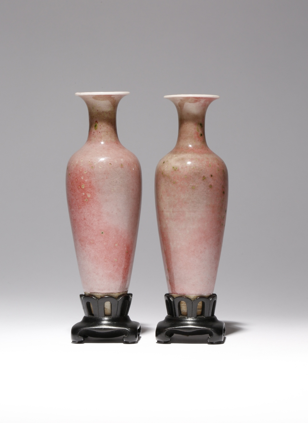 A PAIR OF CHINESE PEACHBLOOM GLAZED TAPERING VASES, LIUYEZUN LATE QING DYNASTY Each vase
