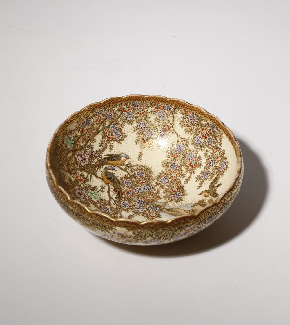 A JAPANESE SATSUMA BOWL MEIJI OR TAISHO PERIOD, 19TH OR 20TH CENTURY The well painted with two