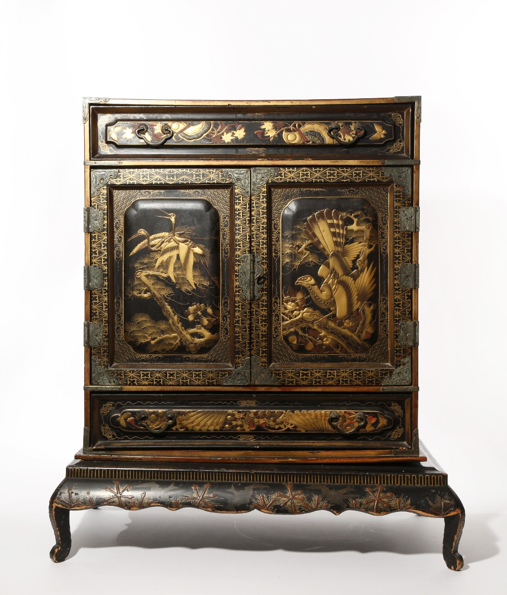 A JAPANESE LACQUER KODANSU CABINET AND STAND MEIJI PERIOD, 19TH CENTURY Of rectangular form, the two