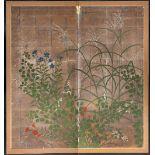 A JAPANESE RIMPA SCHOOL TWO-FOLD PAPER SCREEN, BYOBU EDO OR MEIJI PERIOD, 18TH OR 19TH CENTURY