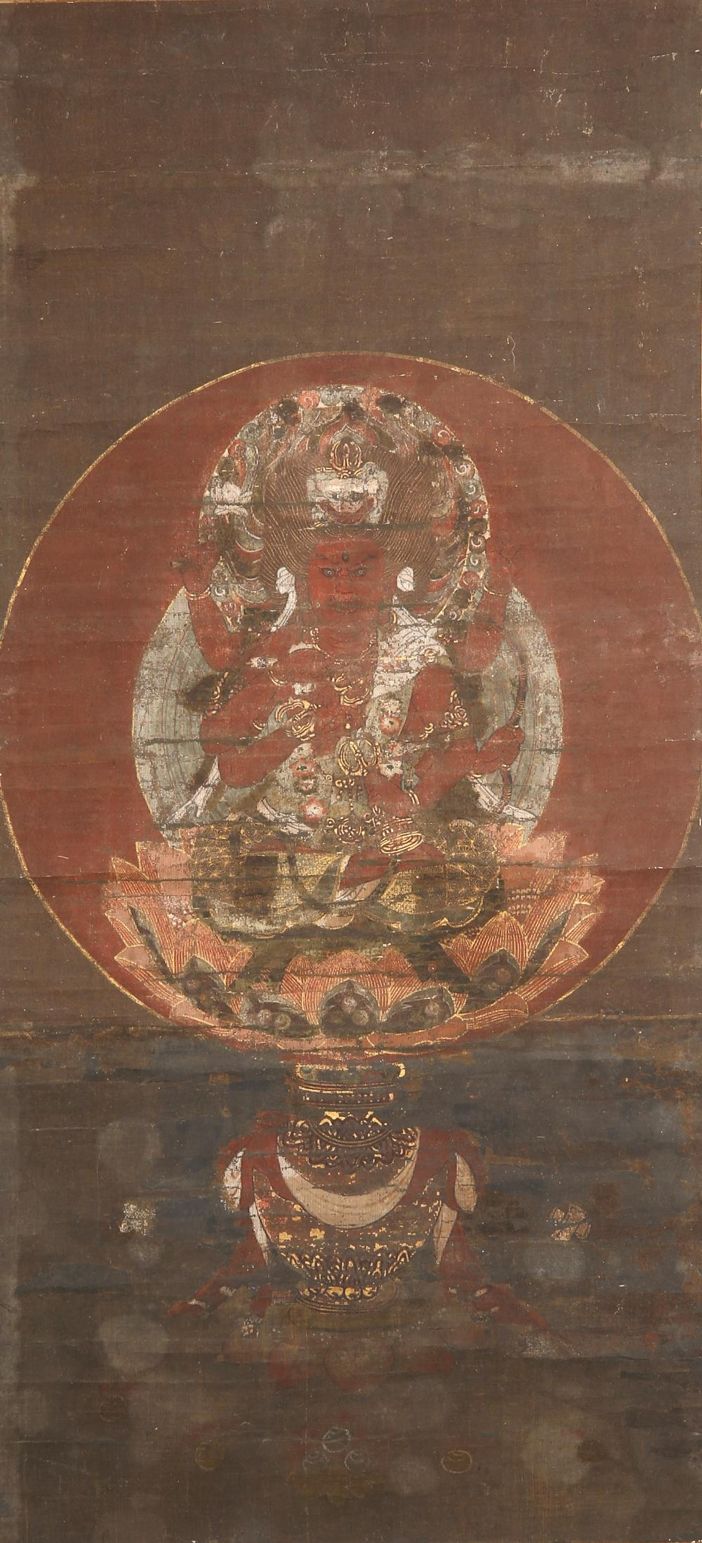 A JAPANESE BUDDHIST SCROLL PAINTING, KAKEMONO EDO PERIOD OR EARLIER, 18TH CENTURY OR EARLIER In
