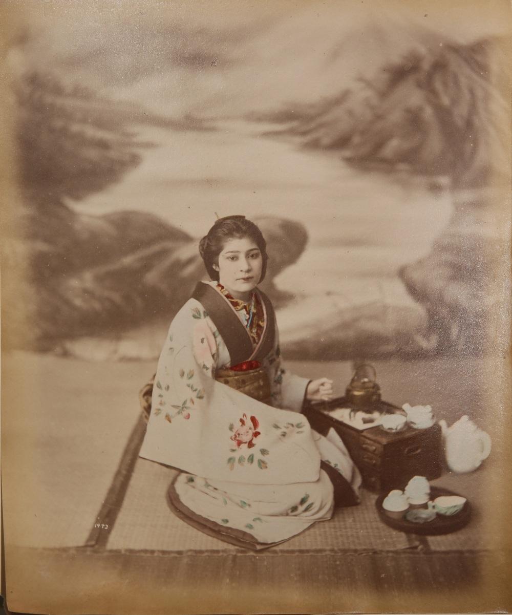 KUSAKABE KIMBEI (1841-1934) MEIJI PERIOD, 19TH CENTURY A Japanese hand-coloured albumen print - Image 6 of 7