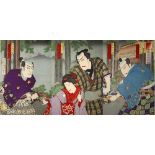 A SET OF FIVE JAPANESE WOODBLOCK PRINT TRIPTYCHS MEIJI PERIOD, 19TH OR 20TH CENTURY Including two by