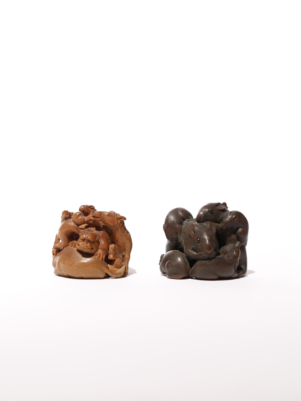 TWO JAPANESE WOOD NETSUKE OF ANIMALS MEIJI PERIOD, 19TH CENTURY The first intricately carved as - Image 2 of 2