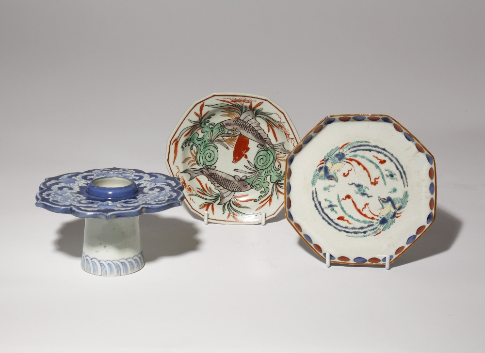 THREE JAPANESE PORCELAIN VESSELS EDO PERIOD, 18TH AND 19TH CENTURY One shaped as a cup stand with