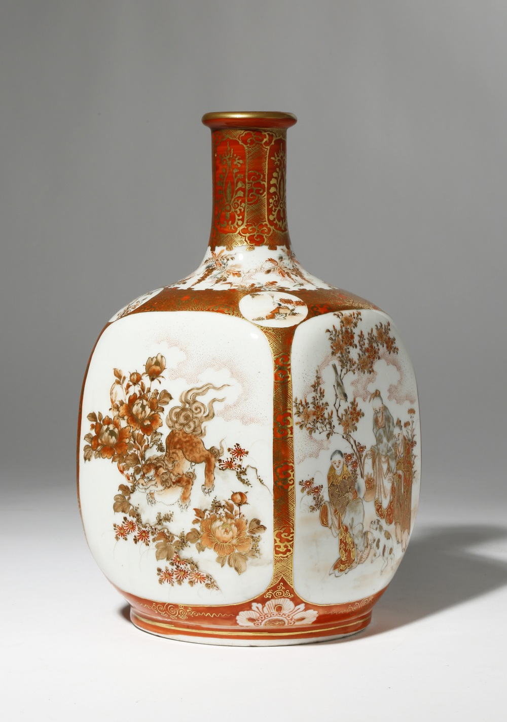 A JAPANESE KUTANI BOTTLE VASE MEIJI PERIOD, 19TH CENTURY With a tall cylindrical neck rising from
