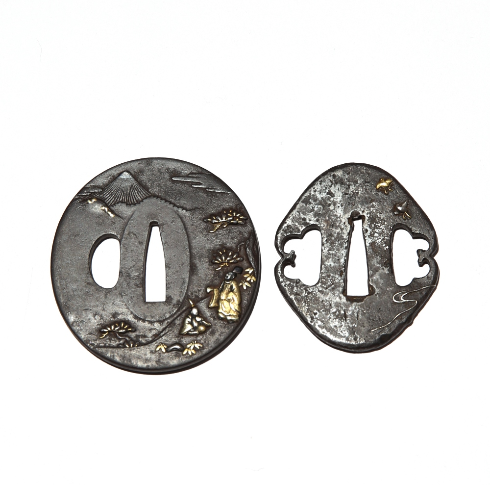TWO JAPANESE INLAID IRON TSUBA EDO OR MEIJI PERIOD, 19TH CENTURY The largest of oval shape and