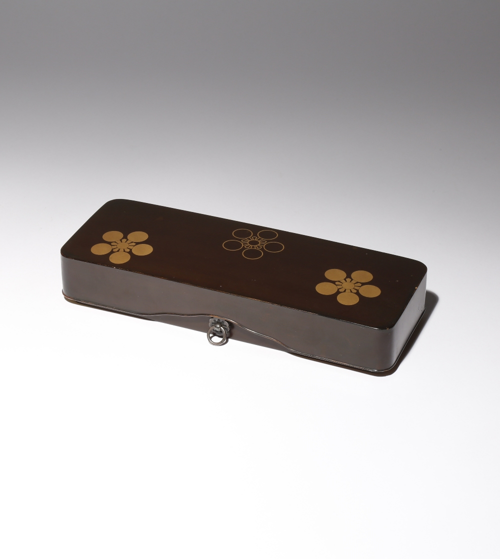 A JAPANESE LACQUER FUBAKO MEIJI PERIOD, 19TH CENTURY The document box and cover of typical