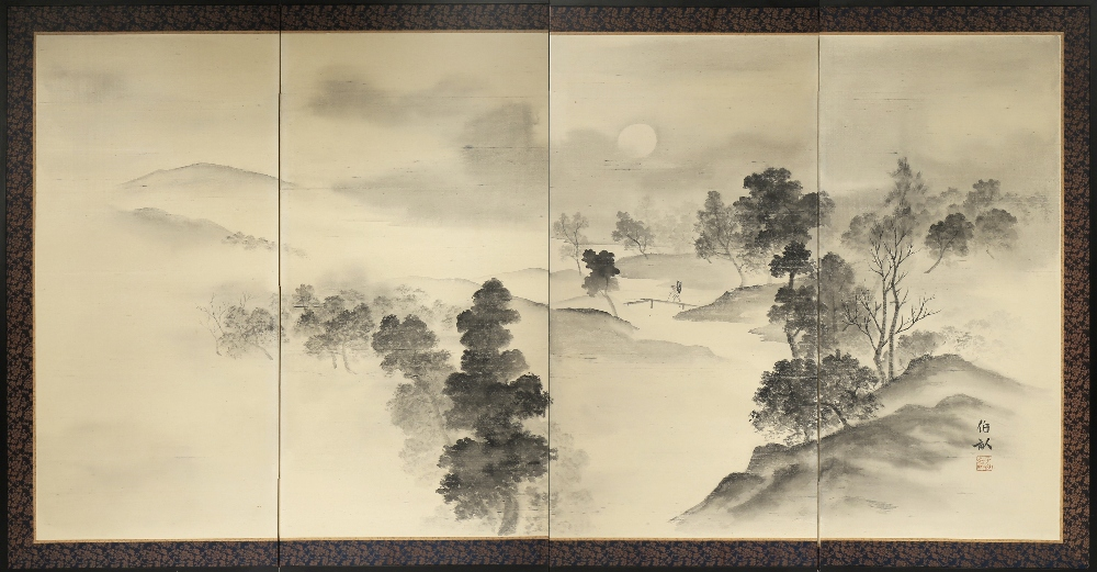 A JAPANESE FOUR-FOLD SCREEN, BYOBU MODERN, 20TH CENTURY Painted in black ink on silk with a