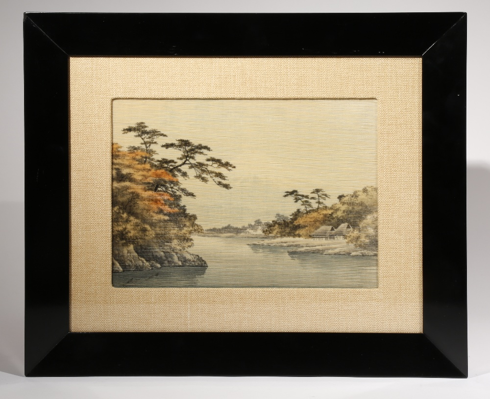 A JAPANESE YUZEN-BIRODO PICTURE MEIJI PERIOD OR LATER, 19TH CENTURY OR LATER The rectangular scene