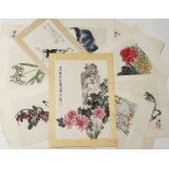 A SMALL COLLECTION OF CHINESE PRINTS 20TH CENTURY With prints of works by Qi Baishi and Ren