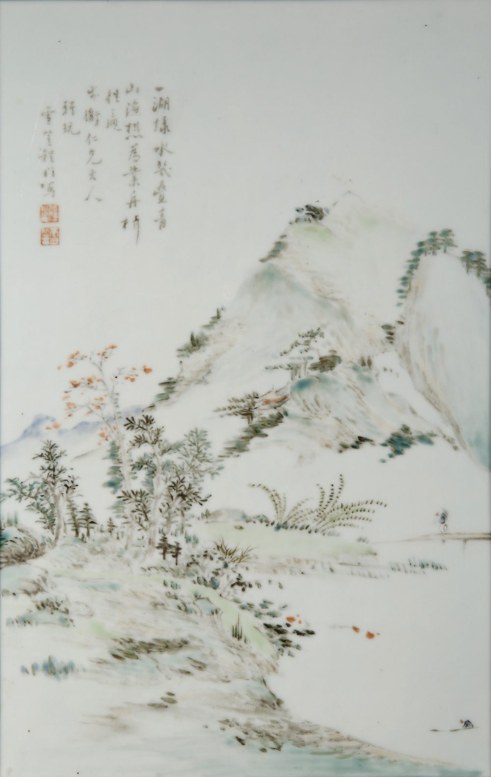 A CHINESE ENAMELLED PORCELAIN RECTANGULAR 'LANDSCAPE' PLAQUE PROBABLY QING DYNASTY Painted with a