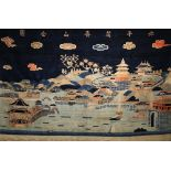A CHINESE 'YIHEYUAN' CARPET REPUBLIC PERIOD Decorated with a scene of Kunming Lake and Longevity