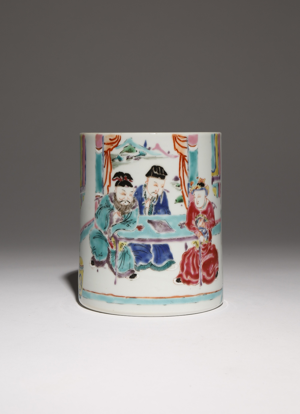 A CHINESE FAMILLE ROSE CYLINDRICAL BRUSHPOT, BITONG YONGZHENG 1723-35 Painted with three scholar-