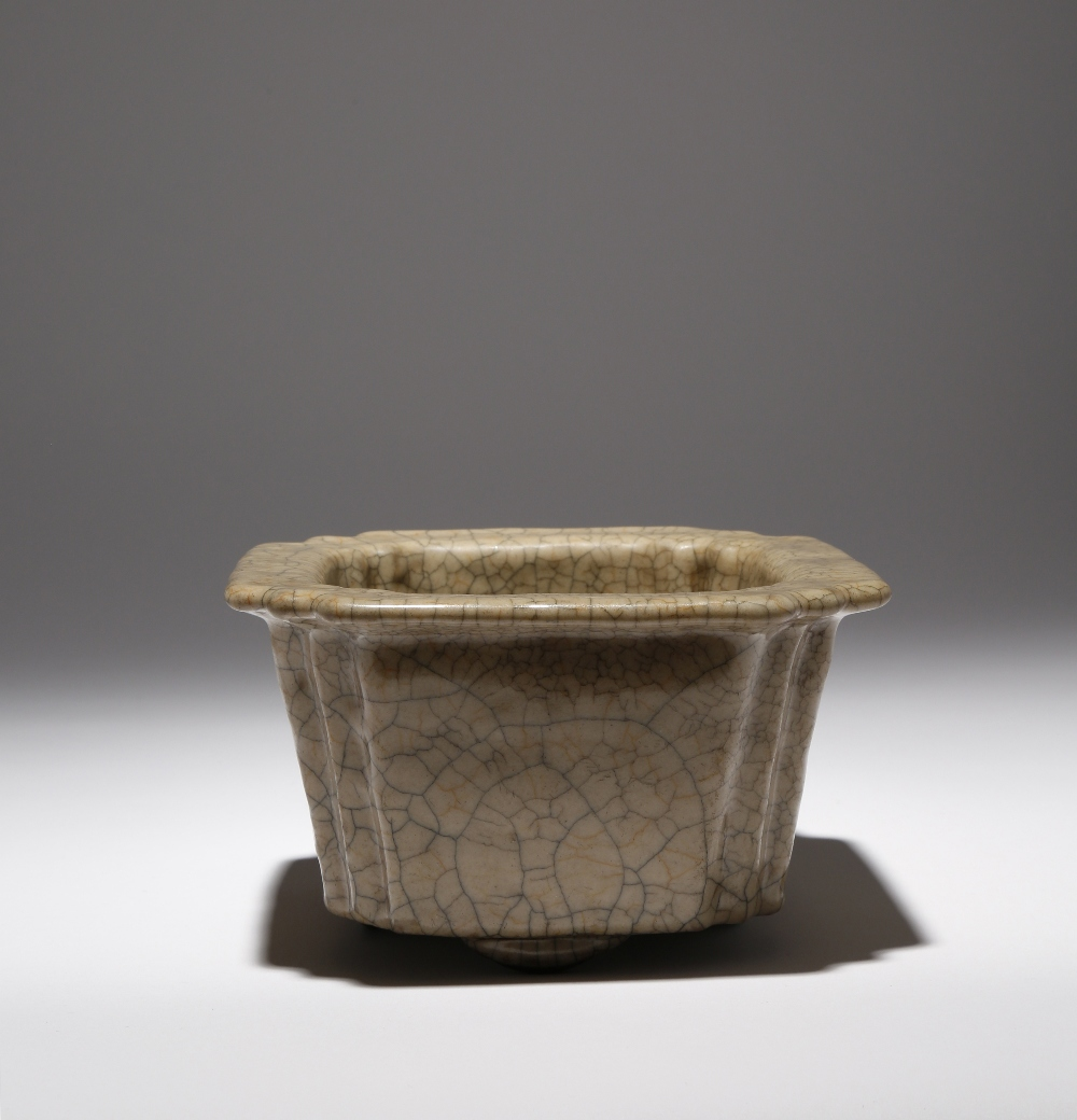 A CHINESE GE-TYPE JARDINIERE QING DYNASTY OR LATER The flared body rising to a flat everted rim,
