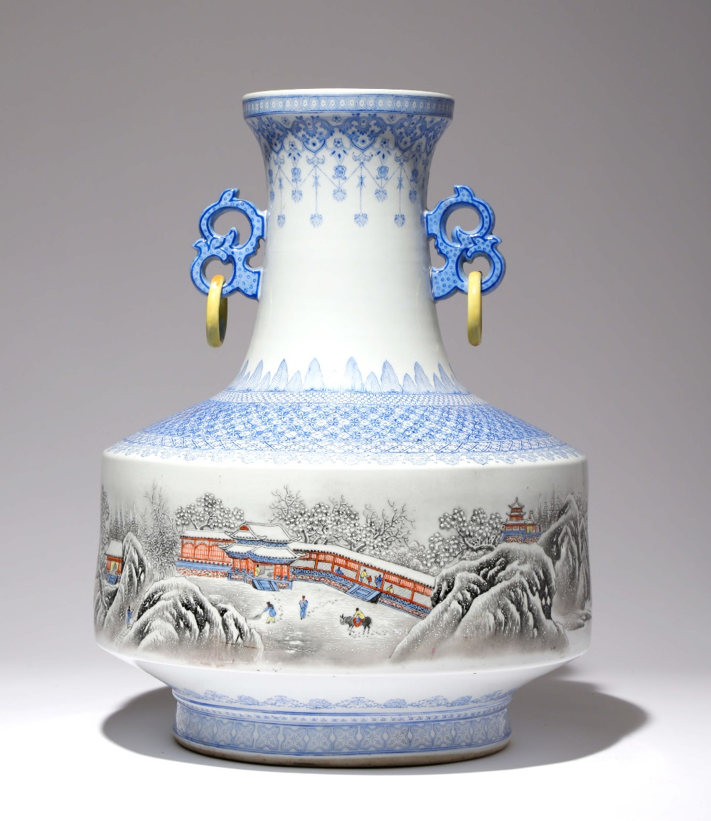 A LARGE CHINESE ENAMELLED 'WINTER LANDSCAPE' VASE 20TH CENTURY Painted with a continuous scene