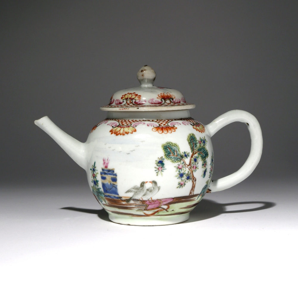 A CHINESE FAMILLE ROSE TEAPOT AND COVER 18TH CENTURY Decorated with the Valentine pattern, finely