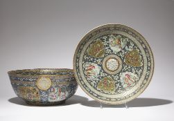 A CHINESE CANTON FAMILLE ROSE BOWL AND DISH FROM THE ZILL AL-SULTAN SERVICE DATED 1879-80 Made for