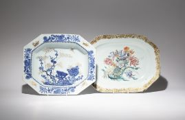 TWO CHINESE OCTAGONAL SERVING DISHES 18TH CENTURY One famille rose, painted in enamels to the centre