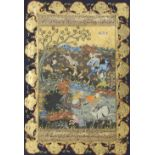 ANONYMOUS (19TH/20TH CENTURY) HUNTING SCENES Three Indian miniature paintings, gouache on paper