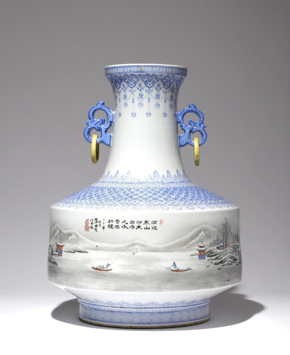 A LARGE CHINESE ENAMELLED 'WINTER LANDSCAPE' VASE 20TH CENTURY Painted with a continuous scene - Image 2 of 2