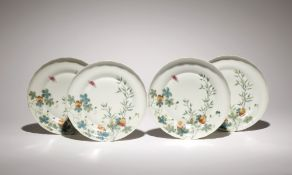 A SET OF FOUR CHINESE FAMILLE ROSE 'BITTER MELON' DISHES PROBABLY GUANGXU Each rising from a tapered
