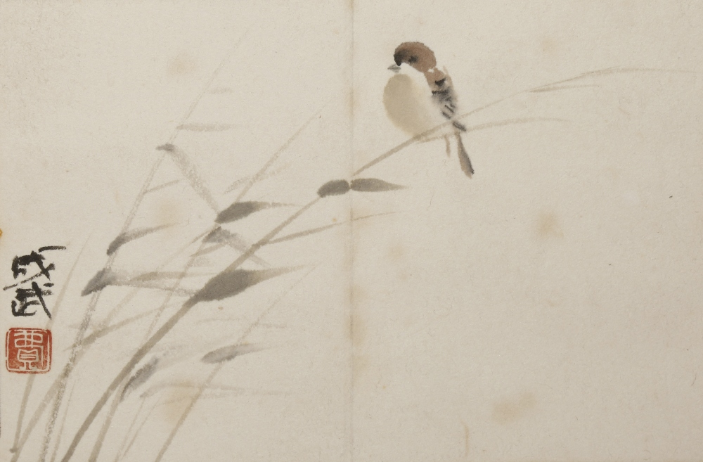 FEI CHENGWU (20TH CENTURY) SPARROW A Chinese painting, ink and colour on paper, signed Chengwu, with - Image 2 of 10