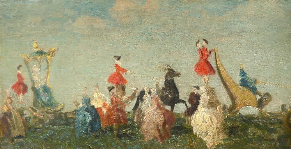 Emma Ciardi (Italian 1879-1933) Promenade à la Mode Signed Emma Ciardi (lower right) Oil on canvas