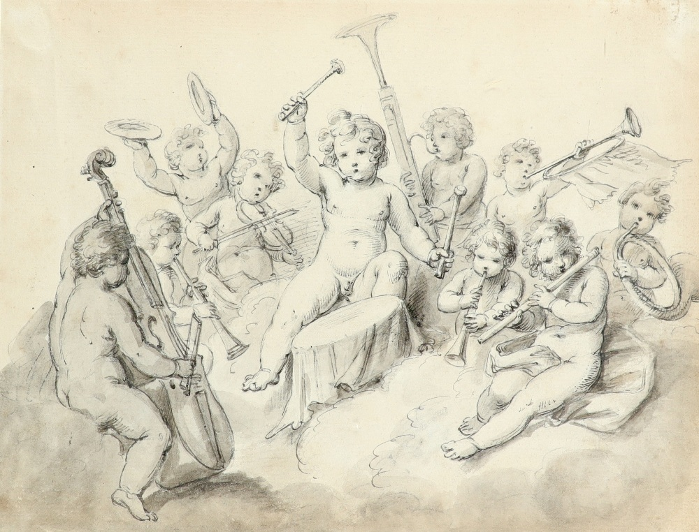 Giovanni Battista Cipriani RA (Italian 1727-1785) A group of putti playing musical instruments