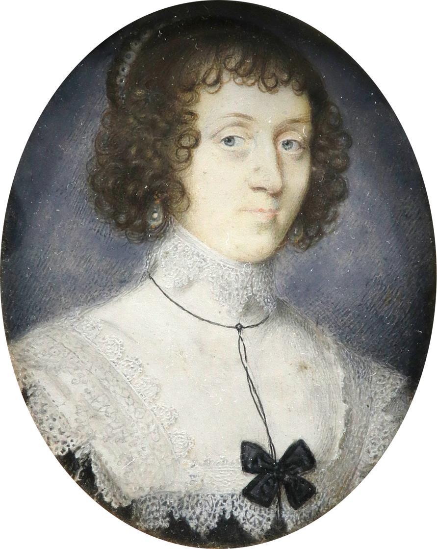 John Hoskins (c.1590-1665) Portrait miniature of a lady, wearing pearl earrings, a lace-trimmed - Image 2 of 3