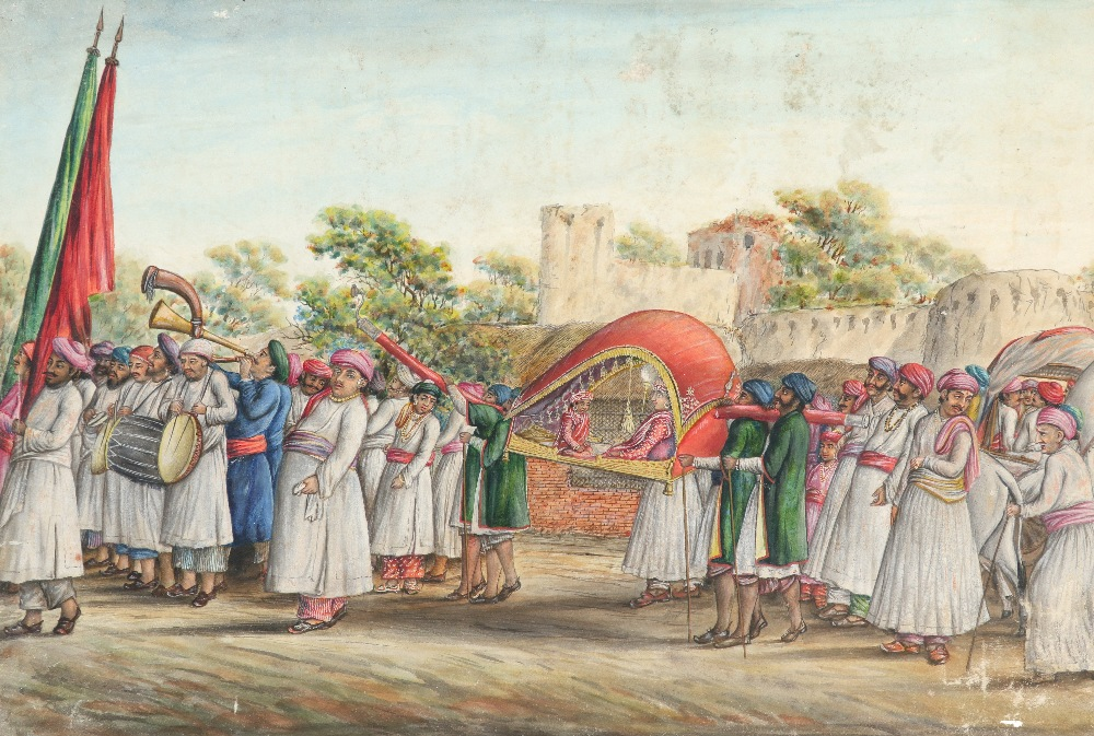 Indian School A procession outside a fort with figures being carried on a palanquin Watercolour