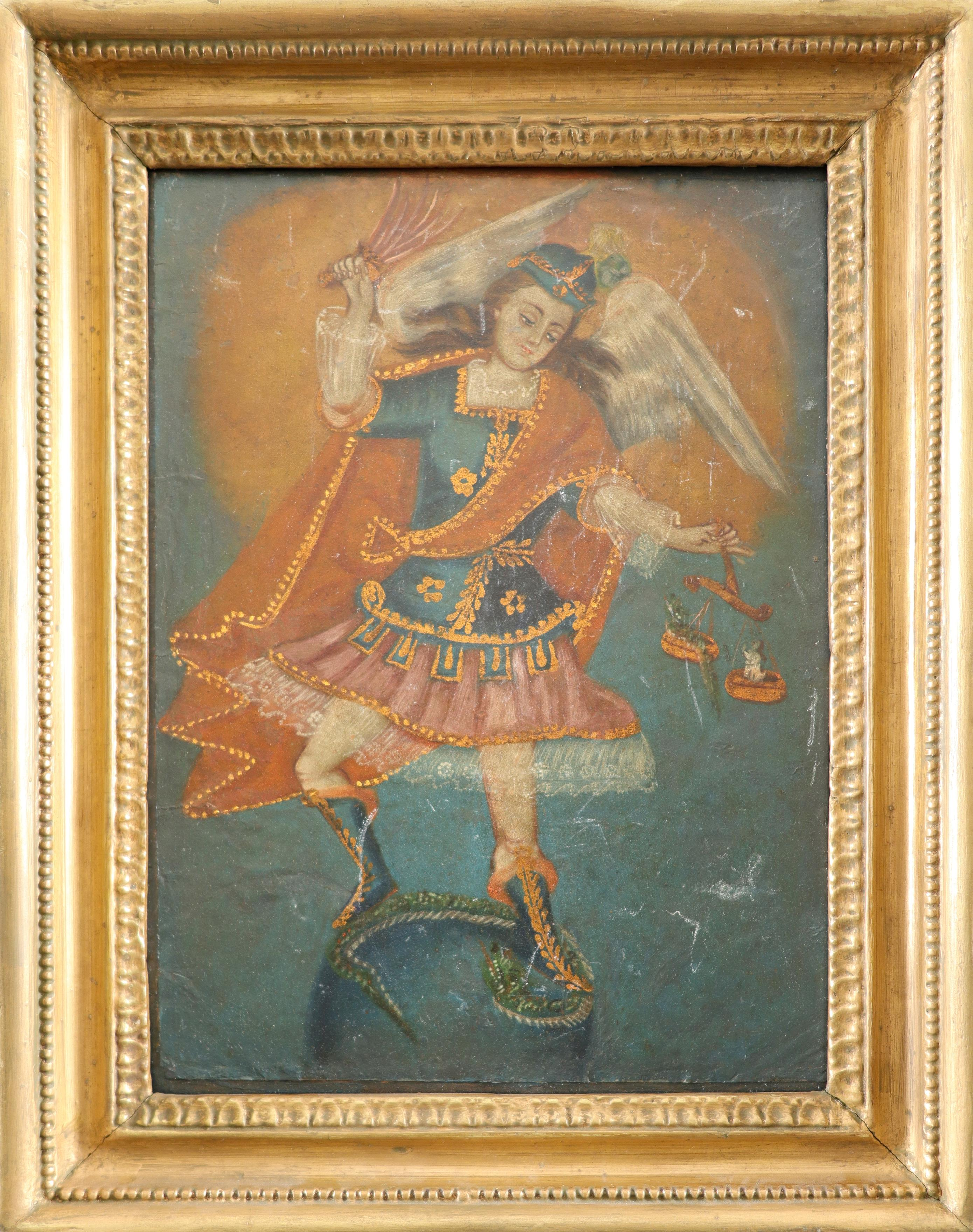 Cuzco School St. Michael vanquishing the devil Oil on paper laid on board 27.4 x 19.3cm; 10¾ x 7½in - Image 2 of 3
