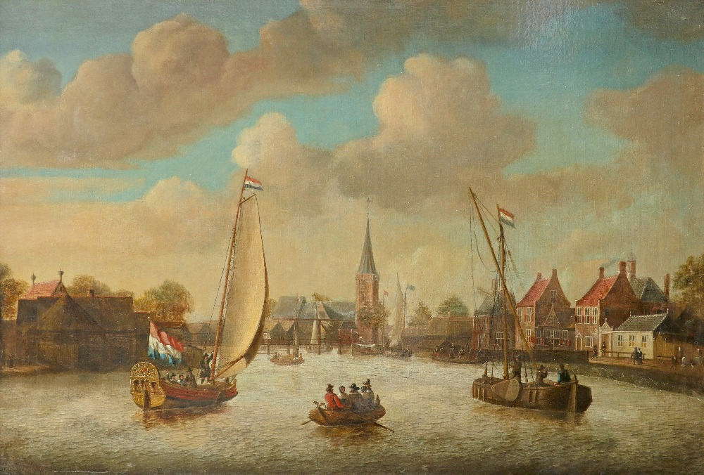 Follower of Jacobus Storck Dutch canal scene with elegant figures in boats and on the bank Bears a