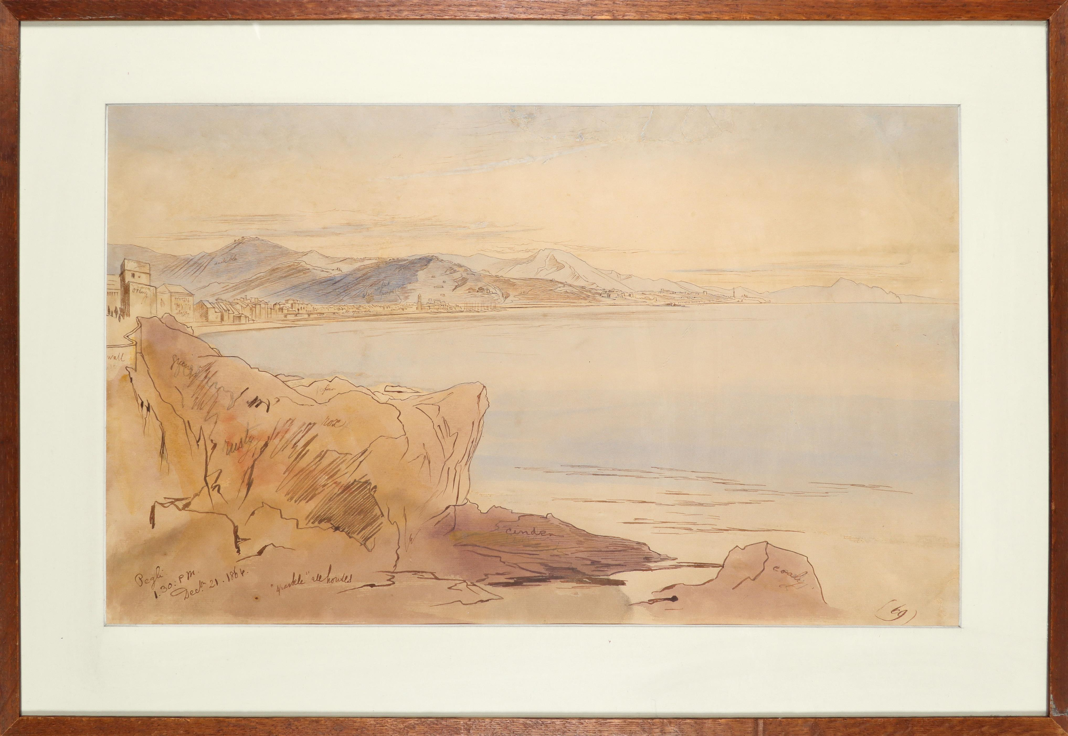 Edward Lear (1812-1888) A view of Pegli, Italy Inscribed and dated Pegli/1.30:pm/Dec 21 1864 ( - Image 2 of 3